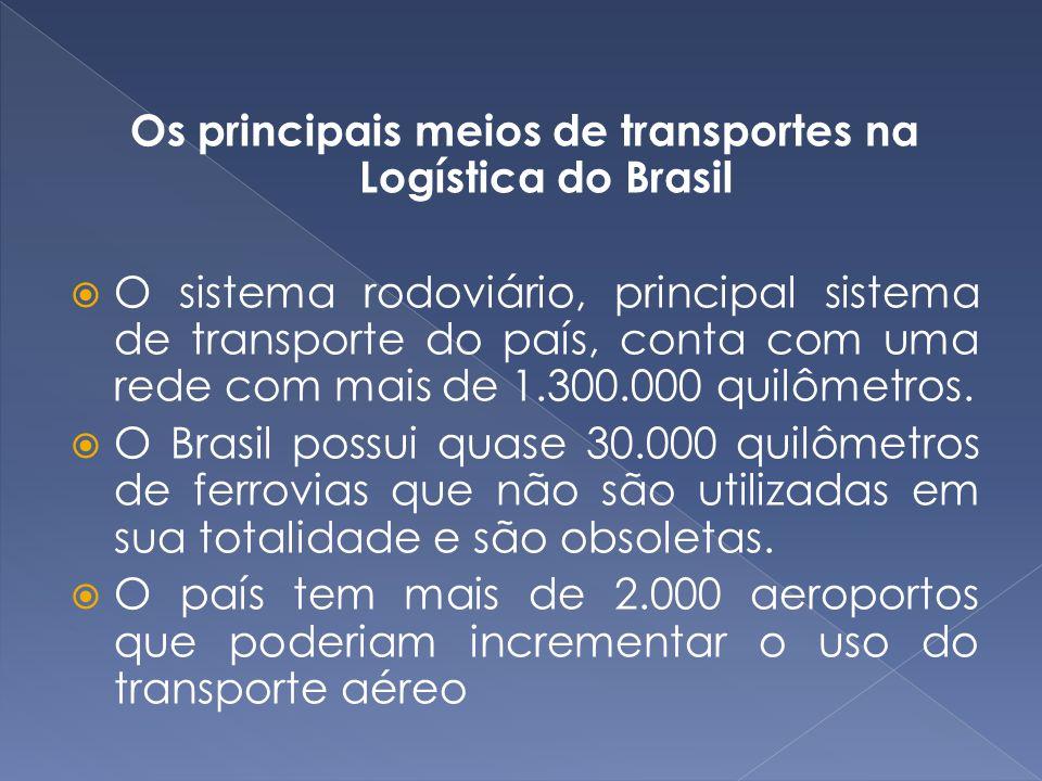 Os principais meios de transportes na Logística do Brasil O sistema rodoviário, principal sistema de transporte do país, conta com uma rede com mais d
