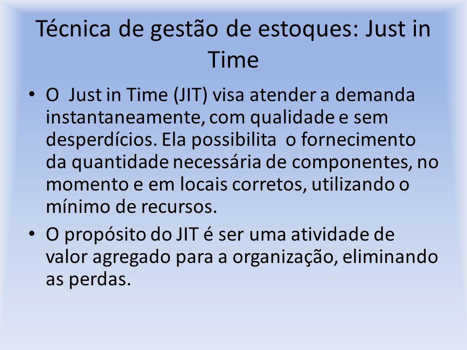 Técnica de gestão de estoques: Just in Time O Just in Time (JIT) visa atender a demanda instantaneamente, com qualidade e sem desperdícios. Ela possib