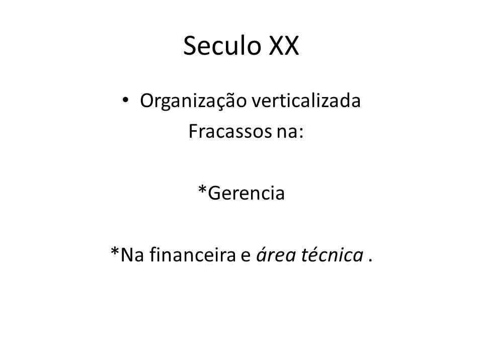 Seculo XX Organização verticalizada Fracassos na: *Gerencia *Na financeira e área técnica.