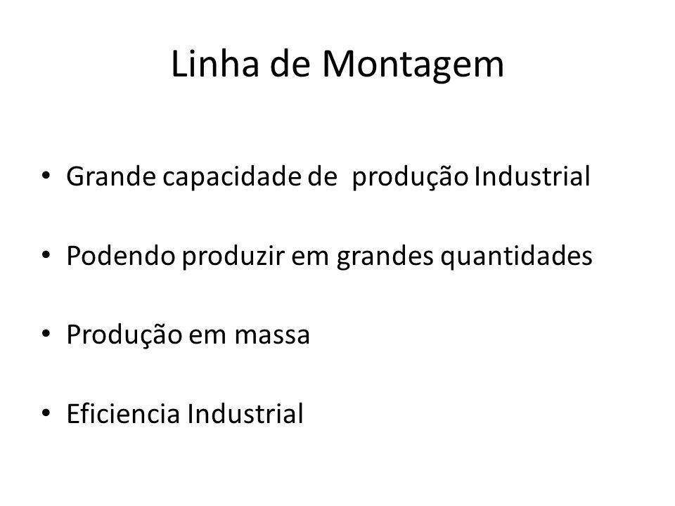 Linha de Montagem Grande capacidade de produção Industrial Podendo produzir em grandes quantidades Produção em massa Eficiencia Industrial