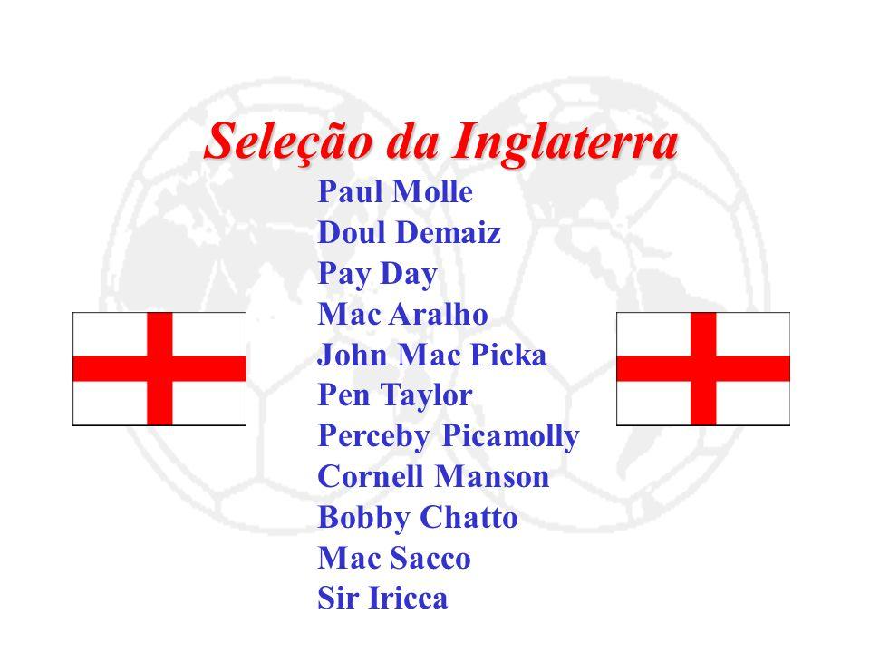 Seleção da Inglaterra Paul Molle Doul Demaiz Pay Day Mac Aralho John Mac Picka Pen Taylor Perceby Picamolly Cornell Manson Bobby Chatto Mac Sacco Sir