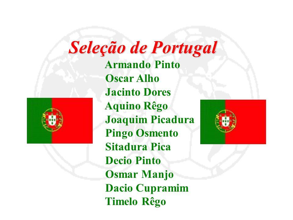Seleção de Portugal Armando Pinto Oscar Alho Jacinto Dores Aquino Rêgo Joaquim Picadura Pingo Osmento Sitadura Pica Decio Pinto Osmar Manjo Dacio Cupr