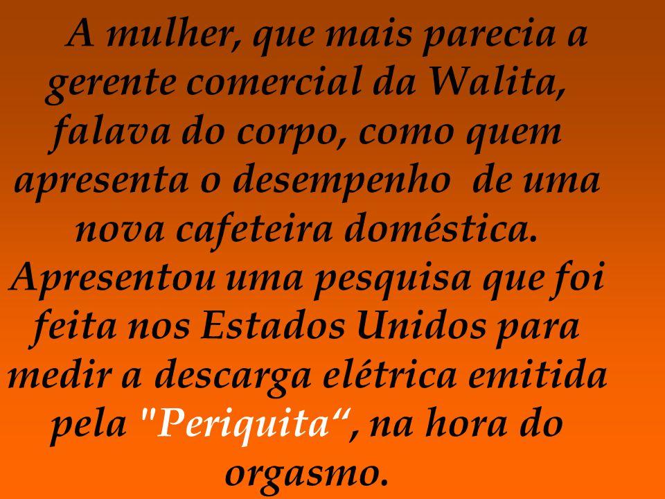 A mulher, que mais parecia a gerente comercial da Walita, falava do corpo, como quem apresenta o desempenho de uma nova cafeteira doméstica.