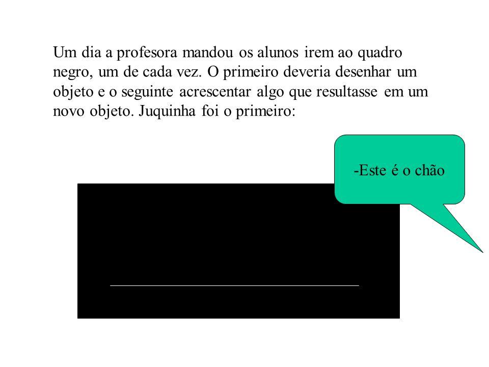 Um dia a profesora mandou os alunos irem ao quadro negro, um de cada vez. O primeiro deveria desenhar um objeto e o seguinte acrescentar algo que resu