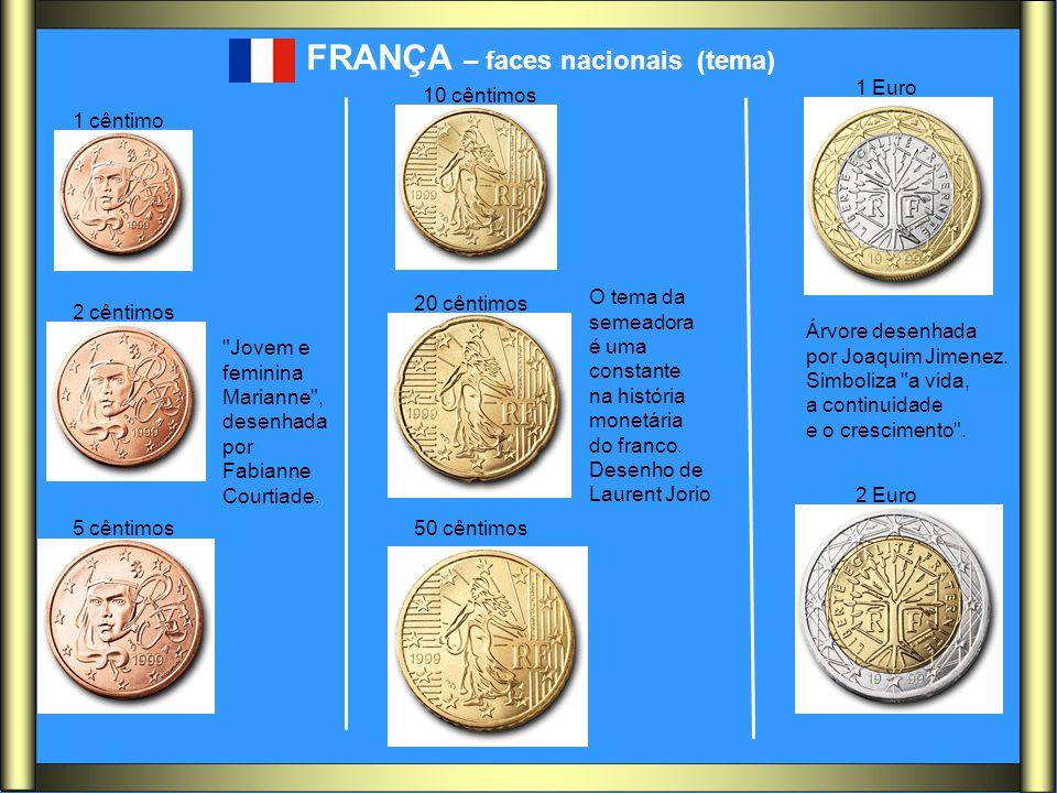 FRANÇA – faces nacionais (tema) O tema da semeadora é uma constante na história monetária do franco. Desenho de Laurent Jorio