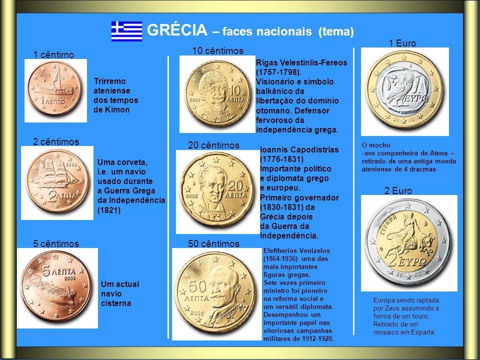 GRÉCIA – faces nacionais (tema) Trirremo ateniense dos tempos de Kimon Uma corveta, i.e. um navio usado durante a Guerra Grega da Independência (1821)