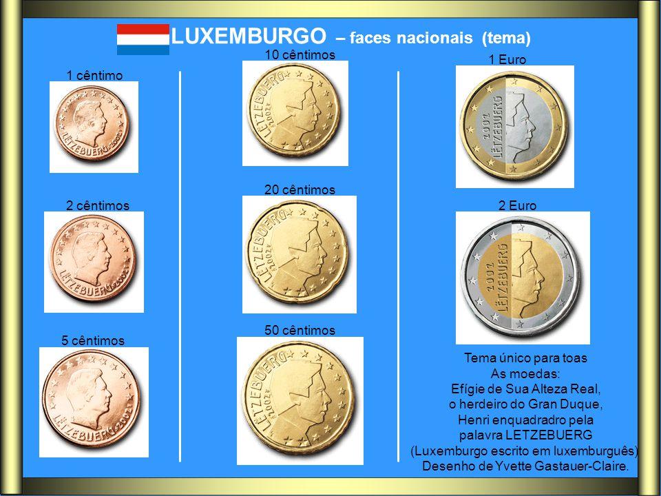 LUXEMBURGO – faces nacionais (tema) Tema único para toas As moedas: Efígie de Sua Alteza Real, o herdeiro do Gran Duque, Henri enquadradro pela palavr