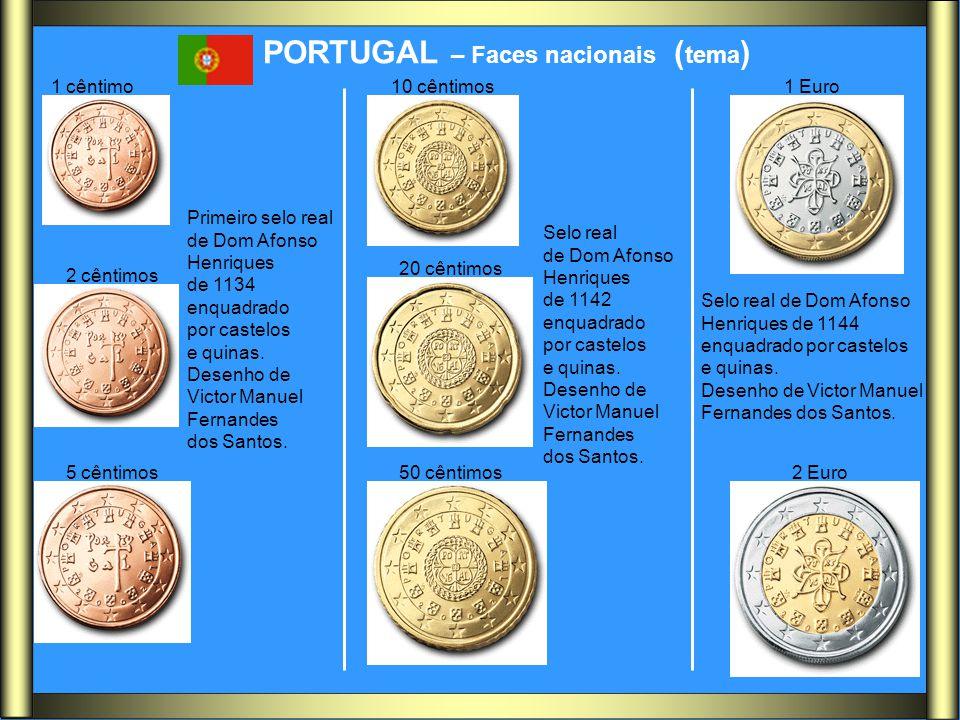 PORTUGAL – Faces nacionais ( tema ) 1 cêntimo 2 cêntimos 5 cêntimos 10 cêntimos 20 cêntimos 50 cêntimos 1 Euro 2 Euro Primeiro selo real de Dom Afonso