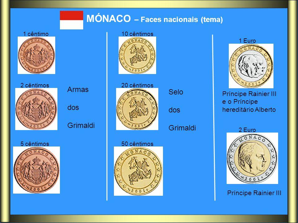 MÓNACO – Faces nacionais (tema) Armas dos Grimaldi Selo dos Grimaldi Príncipe Rainier III e o Príncipe hereditário Alberto Príncipe Rainier III 1 cênt
