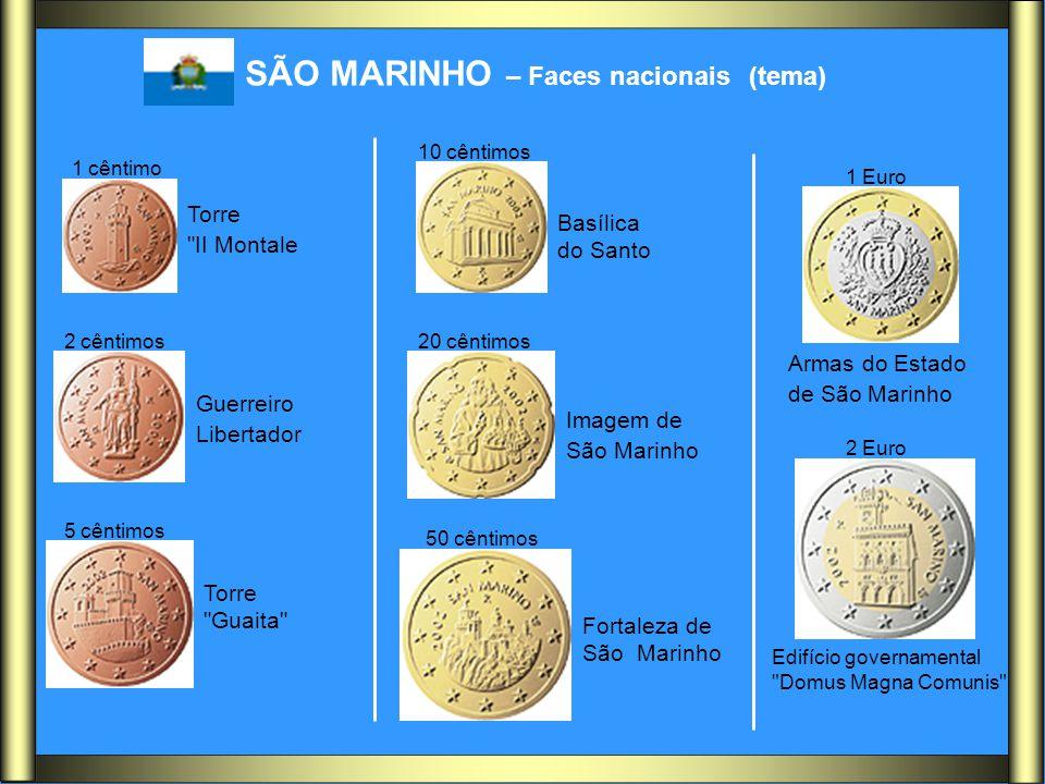 SÃO MARINHO – Faces nacionais (tema) 1 cêntimo 2 cêntimos 5 cêntimos 10 cêntimos 20 cêntimos 50 cêntimos 2 Euro 1 Euro Torre
