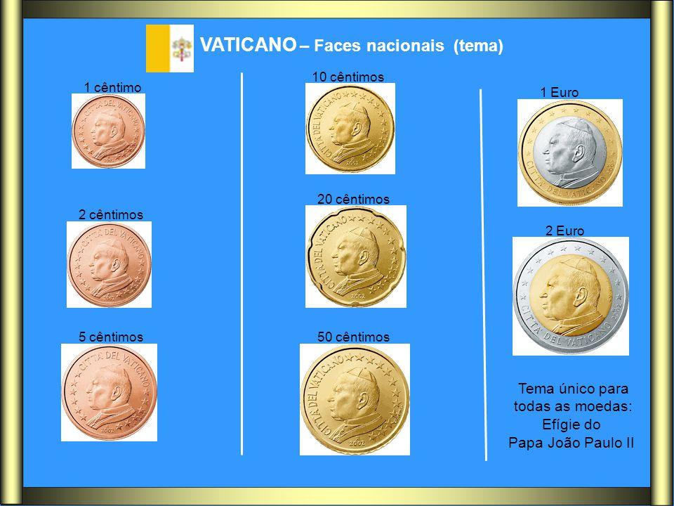 Tema único para todas as moedas: Efígie do Papa João Paulo II VATICANO – Faces nacionais (tema) 1 cêntimo 2 cêntimos 5 cêntimos 10 cêntimos 20 cêntimo