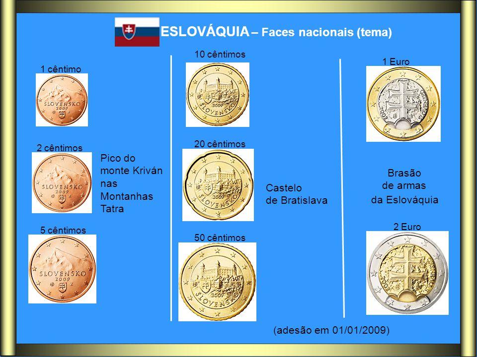ESLOVÁQUIA – Faces nacionais (tema) Pico do monte Kriván nas Montanhas Tatra Castelo de Bratislava Brasão de armas da Eslováquia (adesão em 01/01/2009