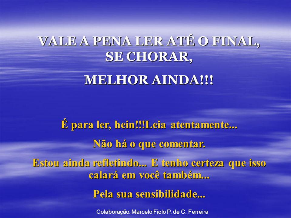 VALE A PENA LER ATÉ O FINAL, SE CHORAR, MELHOR AINDA!!.
