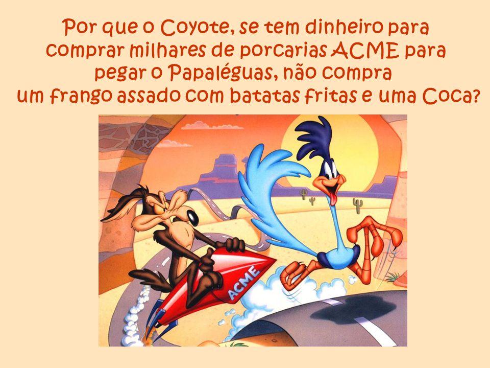 Por que o Coyote, se tem dinheiro para comprar milhares de porcarias ACME para pegar o Papaléguas, não compra um frango assado com batatas fritas e um