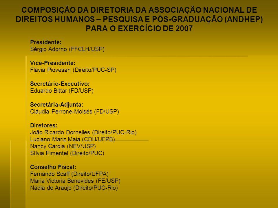 COMPOSIÇÃO DA DIRETORIA DA ASSOCIAÇÃO NACIONAL DE DIREITOS HUMANOS – PESQUISA E PÓS-GRADUAÇÃO (ANDHEP) PARA O EXERCÍCIO DE 2007 Presidente: Sérgio Ado
