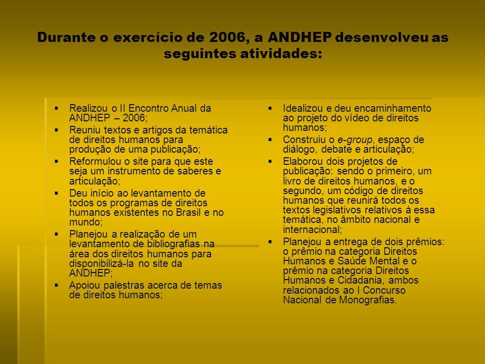 Durante o exercício de 2006, a ANDHEP desenvolveu as seguintes atividades: Realizou o II Encontro Anual da ANDHEP – 2006; Reuniu textos e artigos da t