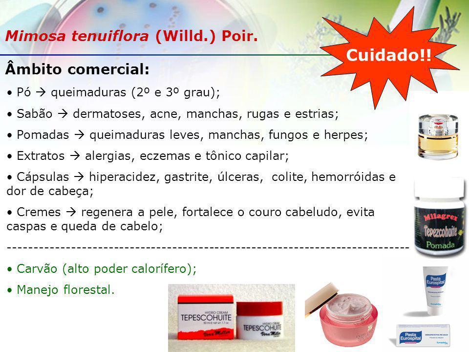 Âmbito comercial: Pó queimaduras (2º e 3º grau); Sabão dermatoses, acne, manchas, rugas e estrias; Pomadas queimaduras leves, manchas, fungos e herpes