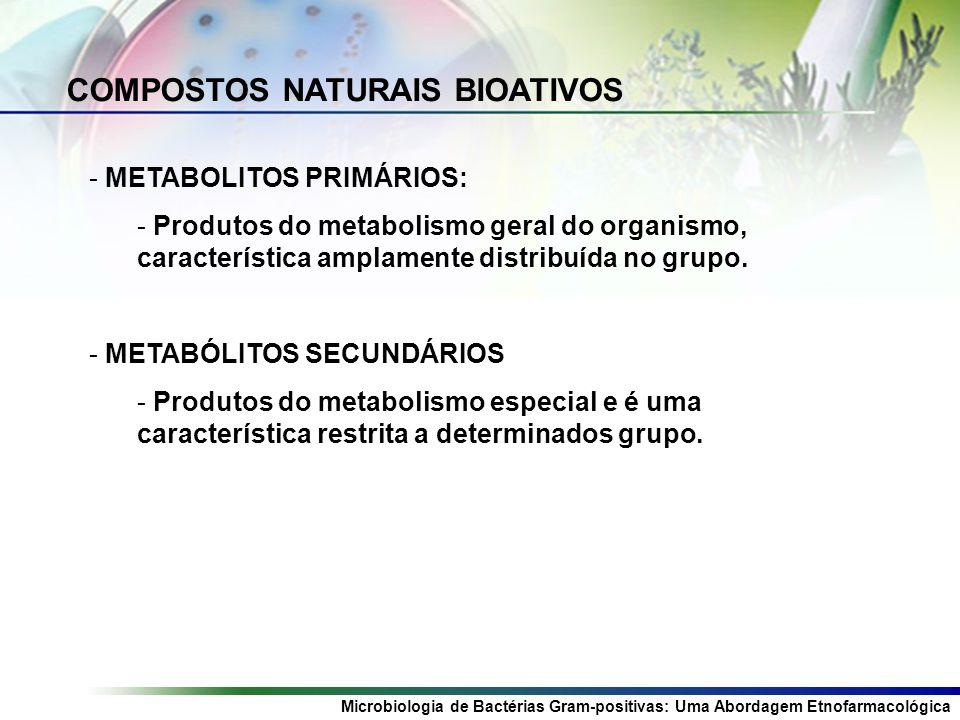 Microbiologia de Bactérias Gram-positivas: Uma Abordagem Etnofarmacológica COMPOSTOS NATURAIS BIOATIVOS - METABOLITOS PRIMÁRIOS: - Produtos do metabolismo geral do organismo, característica amplamente distribuída no grupo.