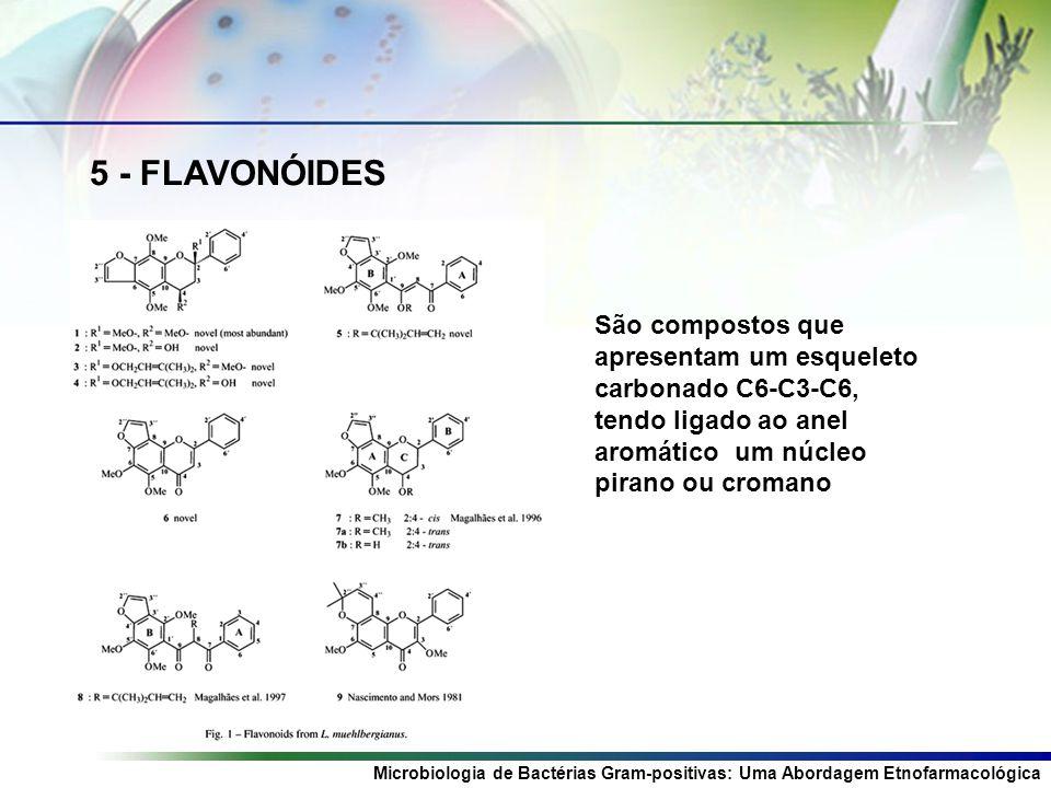 Microbiologia de Bactérias Gram-positivas: Uma Abordagem Etnofarmacológica 5 - FLAVONÓIDES São compostos que apresentam um esqueleto carbonado C6-C3-C6, tendo ligado ao anel aromático um núcleo pirano ou cromano