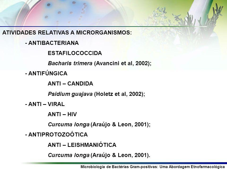 ATIVIDADES RELATIVAS A MICRORGANISMOS Microbiologia de Bactérias Gram-positivas: Uma Abordagem Etnofarmacológica ATIVIDADES RELATIVAS A MICRORGANISMOS: - ANTIBACTERIANA ESTAFILOCOCCIDA Bacharis trimera (Avancini et al, 2002); - ANTIFÚNGICA ANTI – CANDIDA Psidium guajava (Holetz et al, 2002); - ANTI – VIRAL ANTI – HIV Curcuma longa (Araújo & Leon, 2001); - ANTIPROTOZOÓTICA ANTI – LEISHMANIÓTICA Curcuma longa (Araújo & Leon, 2001).