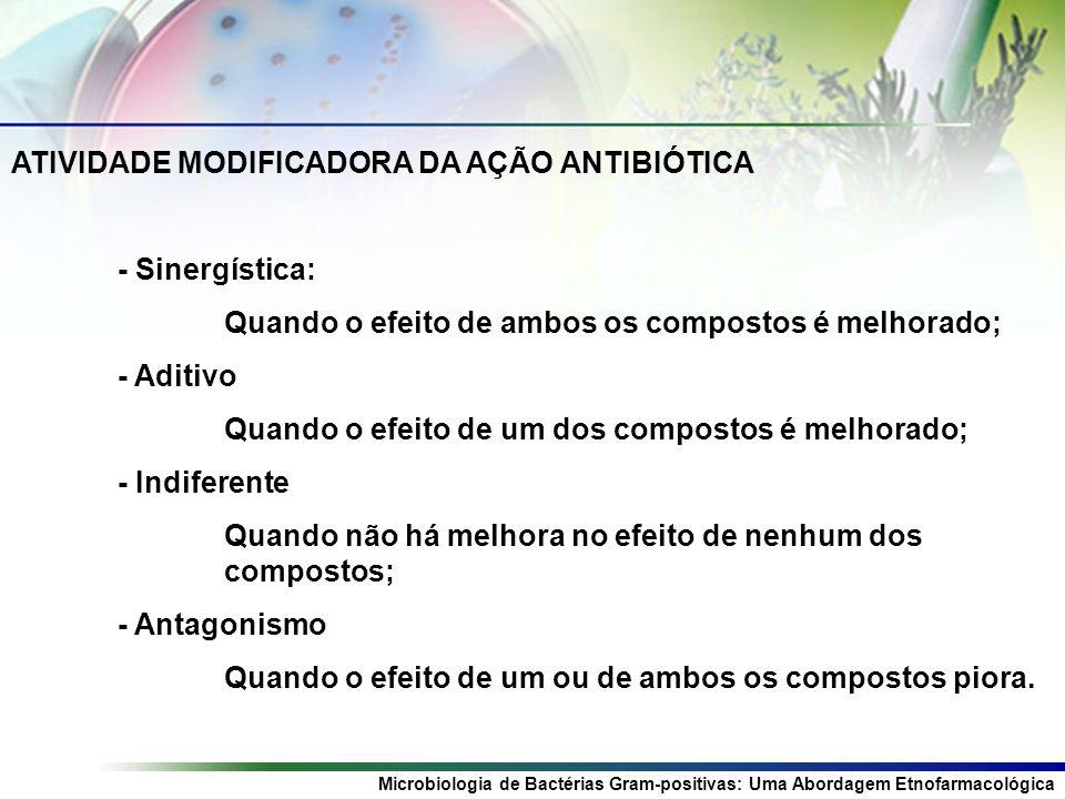 Microbiologia de Bactérias Gram-positivas: Uma Abordagem Etnofarmacológica ATIVIDADE MODIFICADORA DA AÇÃO ANTIBIÓTICA - Sinergística: Quando o efeito de ambos os compostos é melhorado; - Aditivo Quando o efeito de um dos compostos é melhorado; - Indiferente Quando não há melhora no efeito de nenhum dos compostos; - Antagonismo Quando o efeito de um ou de ambos os compostos piora.