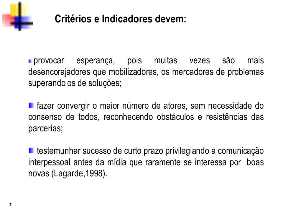 7 Critérios e Indicadores devem: provocar esperança, pois muitas vezes são mais desencorajadores que mobilizadores, os mercadores de problemas superan