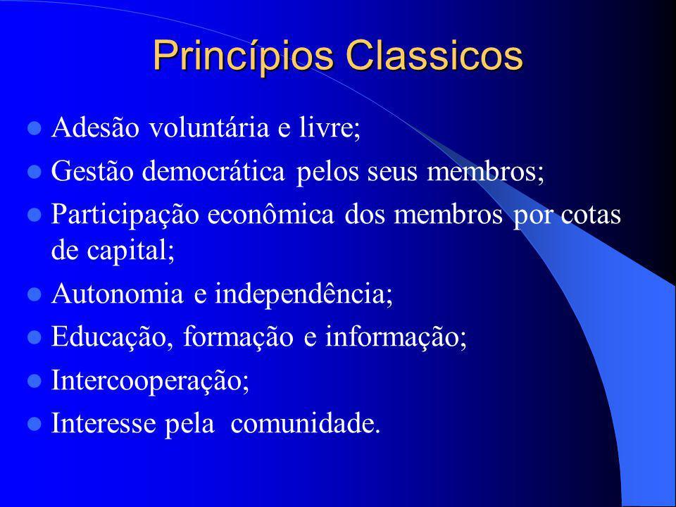 Princípios Classicos Adesão voluntária e livre; Gestão democrática pelos seus membros; Participação econômica dos membros por cotas de capital; Autono