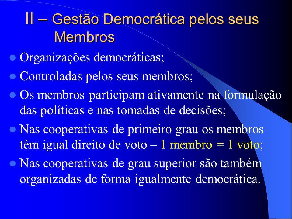 II – Gestão Democrática pelos seus Membros Organizações democráticas; Controladas pelos seus membros; Os membros participam ativamente na formulação d