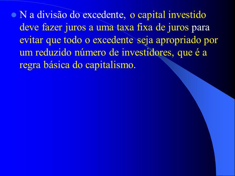 N a divisão do excedente, o capital investido deve fazer juros a uma taxa fixa de juros para evitar que todo o excedente seja apropriado por um reduzi