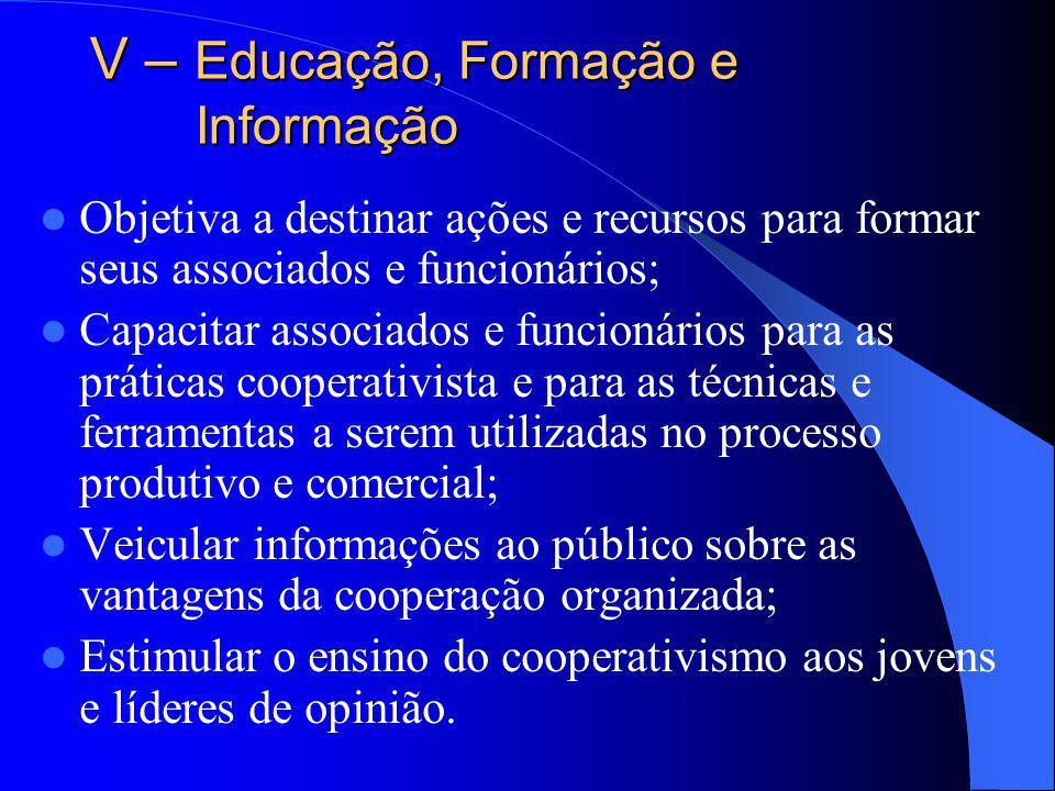 V – Educação, Formação e Informação Objetiva a destinar ações e recursos para formar seus associados e funcionários; Capacitar associados e funcionári