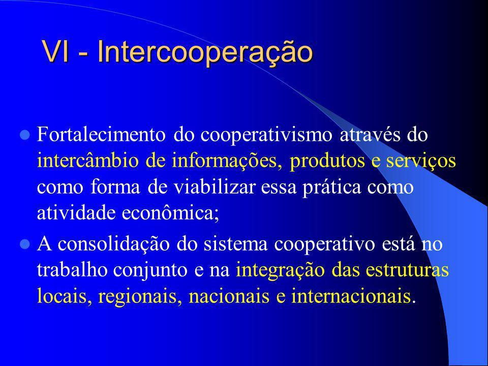 VI - Intercooperação Fortalecimento do cooperativismo através do intercâmbio de informações, produtos e serviços como forma de viabilizar essa prática