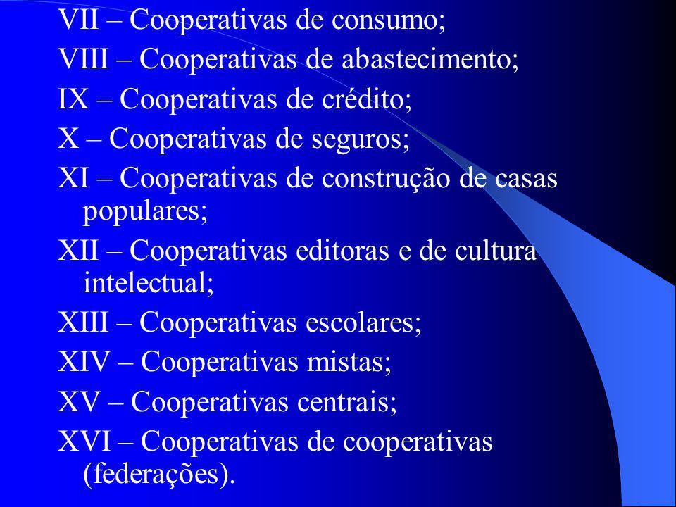 VII – Cooperativas de consumo; VIII – Cooperativas de abastecimento; IX – Cooperativas de crédito; X – Cooperativas de seguros; XI – Cooperativas de c
