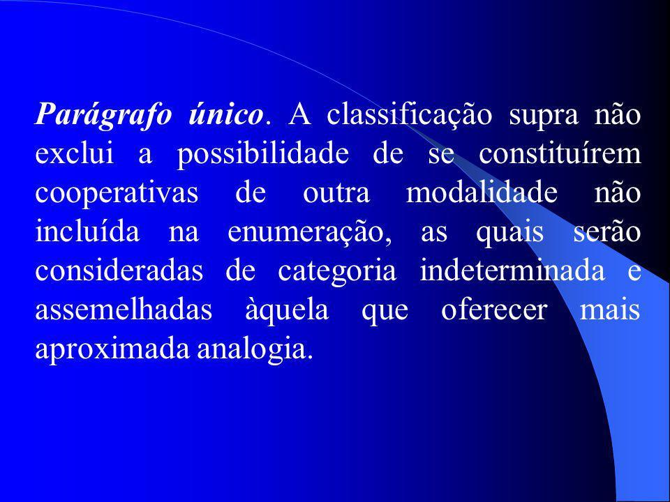 Parágrafo único. A classificação supra não exclui a possibilidade de se constituírem cooperativas de outra modalidade não incluída na enumeração, as q
