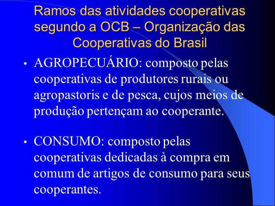 Ramos das atividades cooperativas segundo a OCB – Organização das Cooperativas do Brasil AGROPECUÁRIO: composto pelas cooperativas de produtores rurai