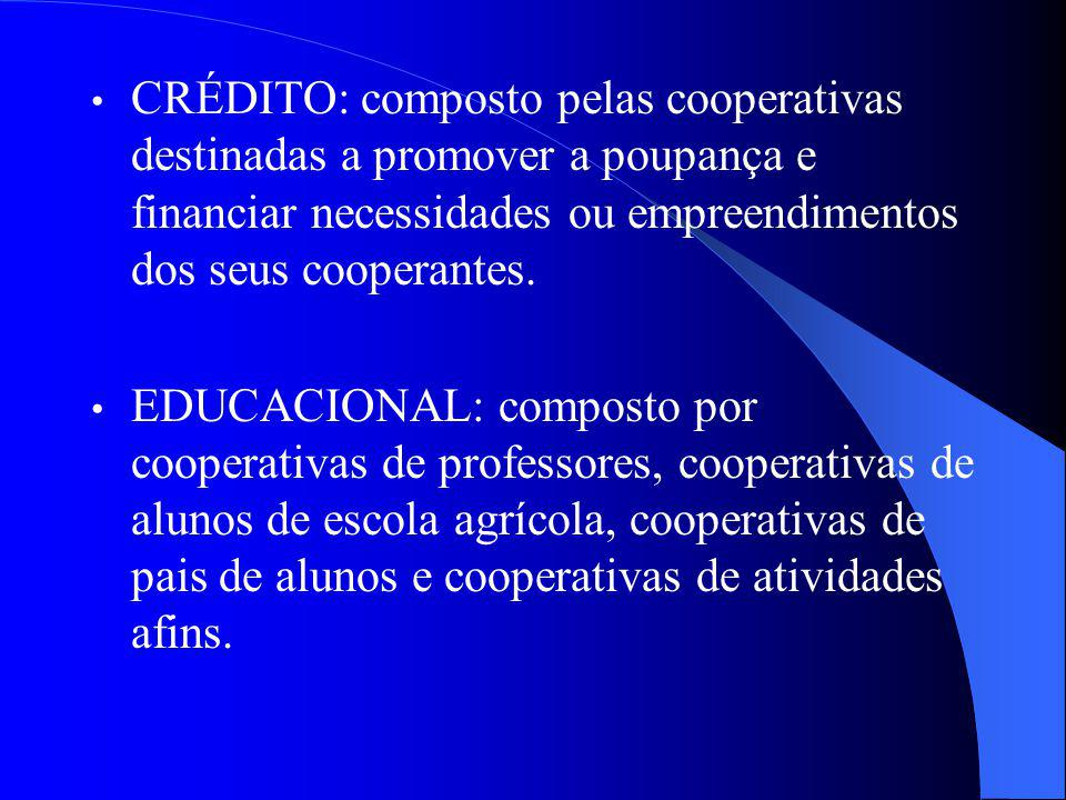 CRÉDITO: composto pelas cooperativas destinadas a promover a poupança e financiar necessidades ou empreendimentos dos seus cooperantes. EDUCACIONAL: c