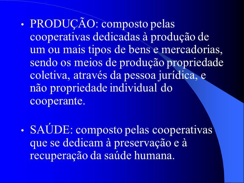 PRODUÇÃO: composto pelas cooperativas dedicadas à produção de um ou mais tipos de bens e mercadorias, sendo os meios de produção propriedade coletiva,