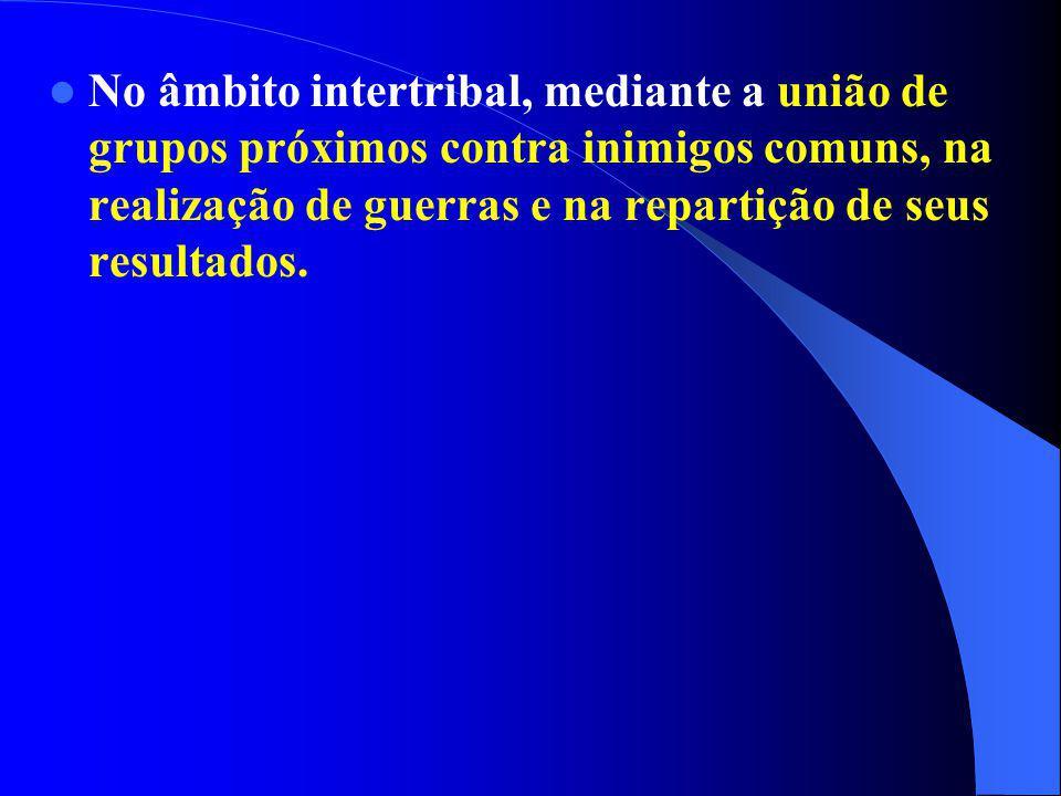 No âmbito intertribal, mediante a união de grupos próximos contra inimigos comuns, na realização de guerras e na repartição de seus resultados.