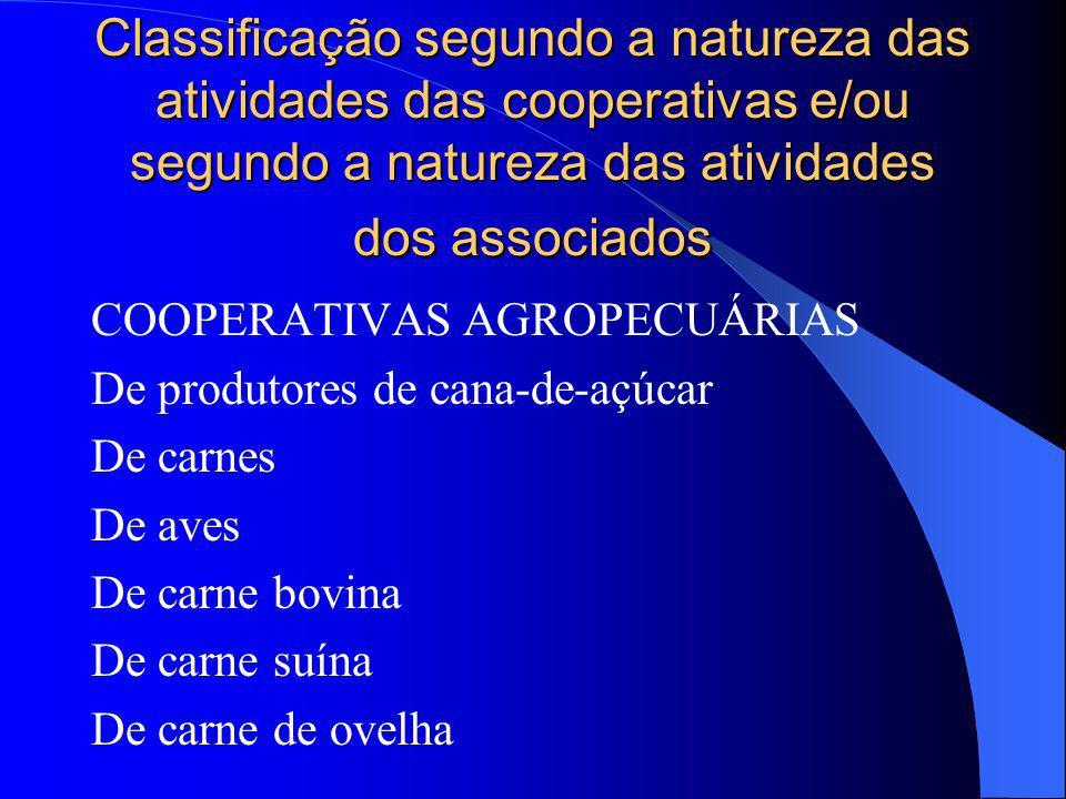 Classificação segundo a natureza das atividades das cooperativas e/ou segundo a natureza das atividades dos associados COOPERATIVAS AGROPECUÁRIAS De p