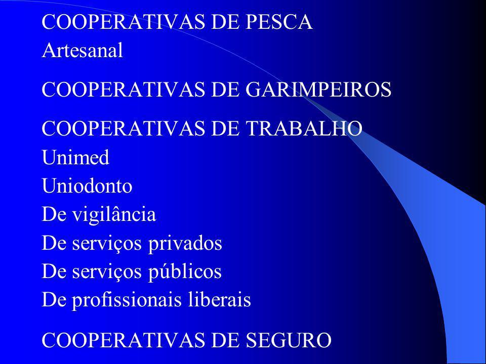 COOPERATIVAS DE PESCA Artesanal COOPERATIVAS DE GARIMPEIROS COOPERATIVAS DE TRABALHO Unimed Uniodonto De vigilância De serviços privados De serviços p