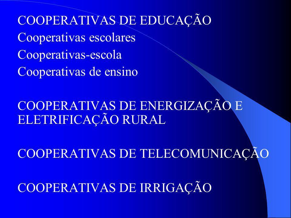 COOPERATIVAS DE EDUCAÇÃO Cooperativas escolares Cooperativas-escola Cooperativas de ensino COOPERATIVAS DE ENERGIZAÇÃO E ELETRIFICAÇÃO RURAL COOPERATI