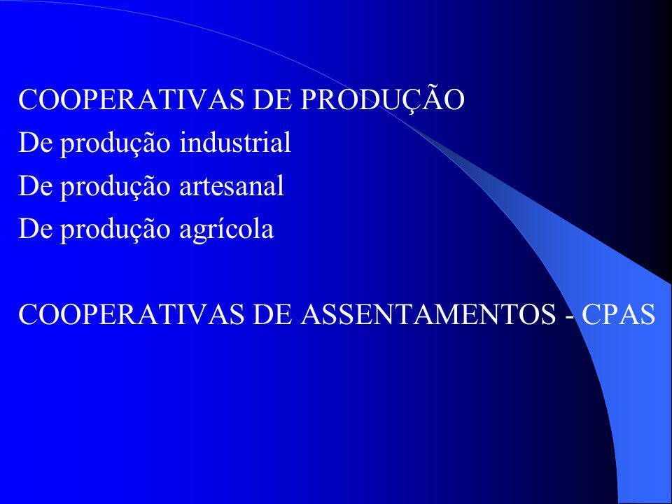 COOPERATIVAS DE PRODUÇÃO De produção industrial De produção artesanal De produção agrícola COOPERATIVAS DE ASSENTAMENTOS - CPAS