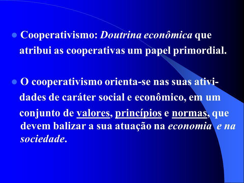 Cooperativismo: Doutrina econômica que atribui as cooperativas um papel primordial. O cooperativismo orienta-se nas suas ativi- dades de caráter socia