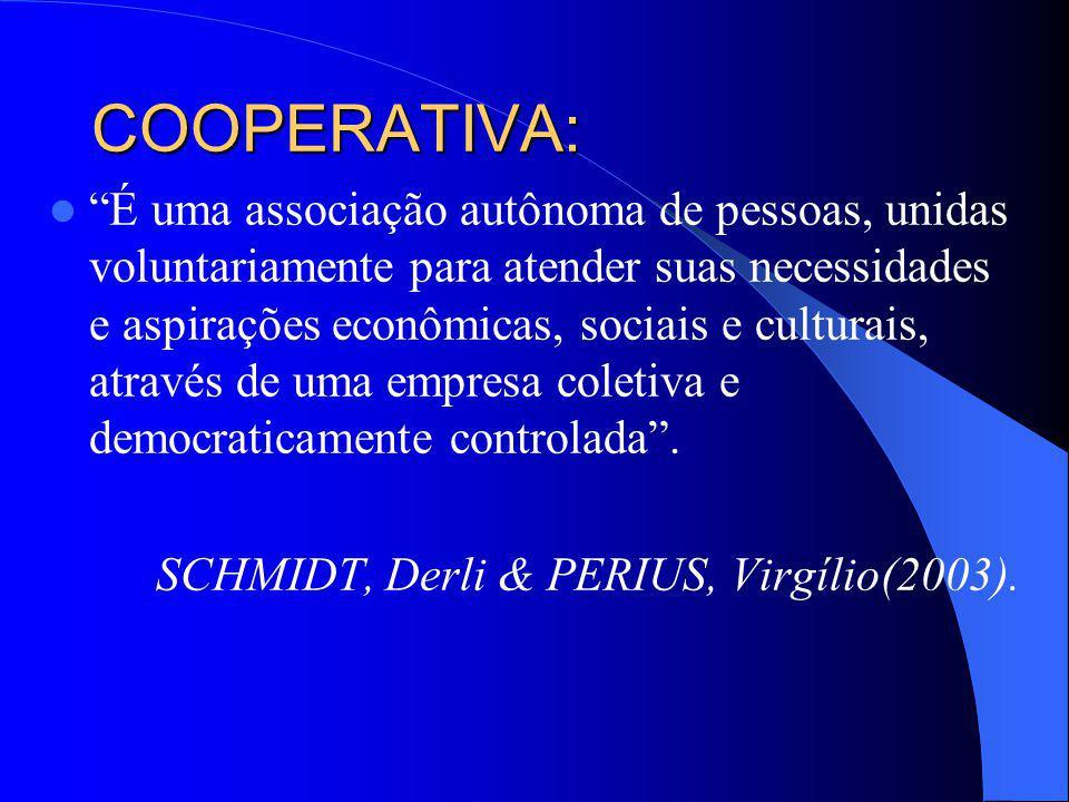 COOPERATIVA: É uma associação autônoma de pessoas, unidas voluntariamente para atender suas necessidades e aspirações econômicas, sociais e culturais,
