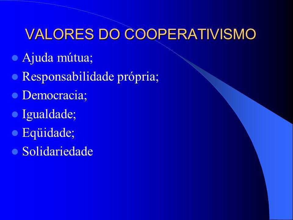 VALORES DO COOPERATIVISMO Ajuda mútua; Responsabilidade própria; Democracia; Igualdade; Eqüidade; Solidariedade