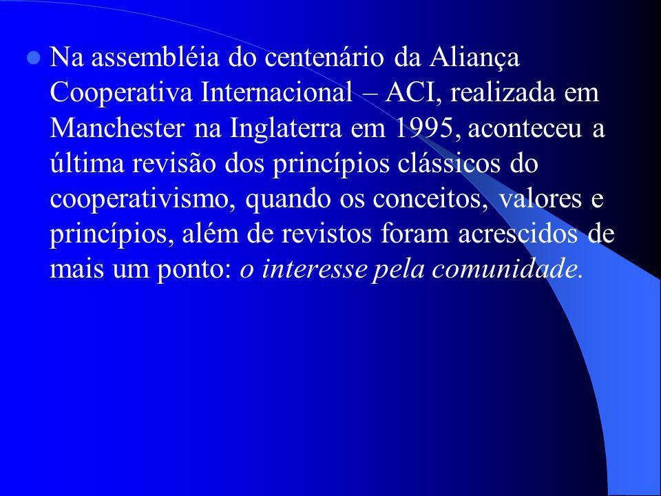 Na assembléia do centenário da Aliança Cooperativa Internacional – ACI, realizada em Manchester na Inglaterra em 1995, aconteceu a última revisão dos
