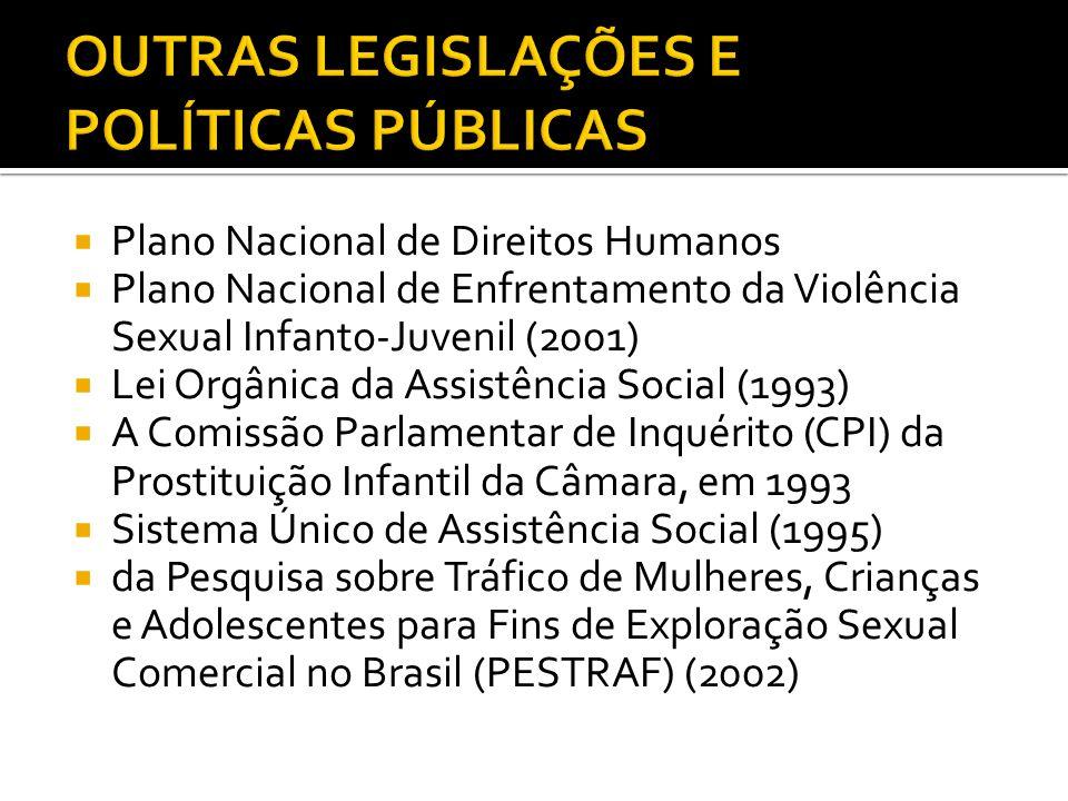 Plano Nacional de Direitos Humanos Plano Nacional de Enfrentamento da Violência Sexual Infanto-Juvenil (2001) Lei Orgânica da Assistência Social (1993) A Comissão Parlamentar de Inquérito (CPI) da Prostituição Infantil da Câmara, em 1993 Sistema Único de Assistência Social (1995) da Pesquisa sobre Tráfico de Mulheres, Crianças e Adolescentes para Fins de Exploração Sexual Comercial no Brasil (PESTRAF) (2002)