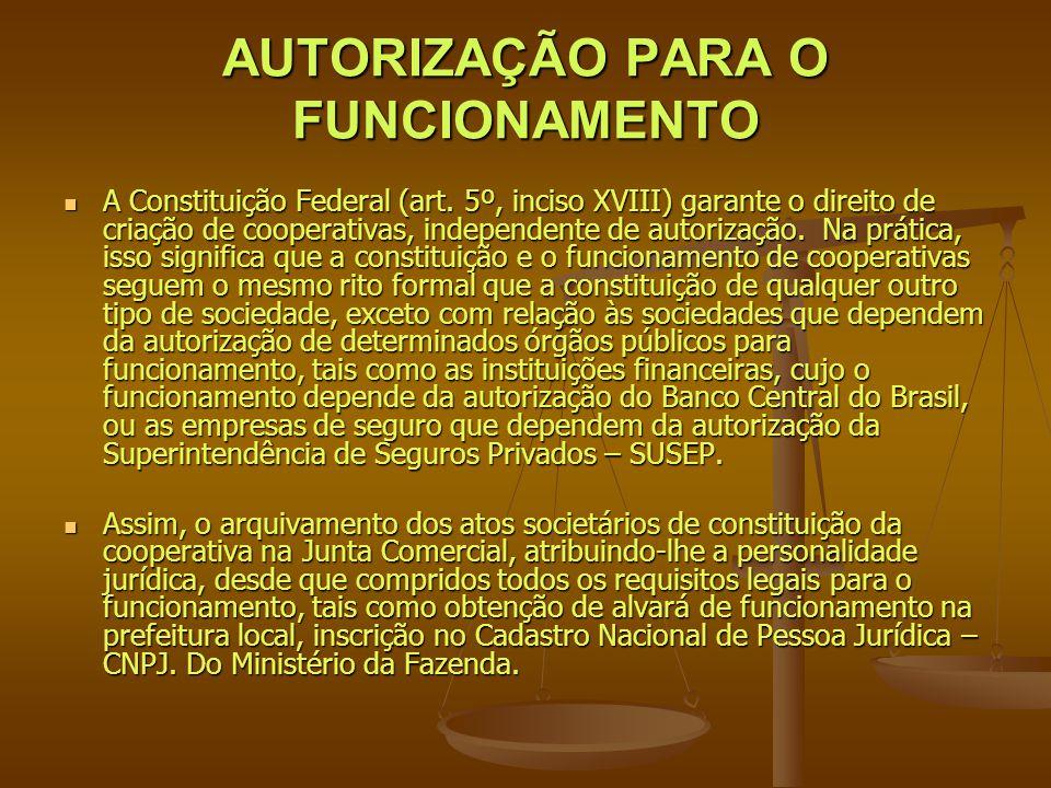 AUTORIZAÇÃO PARA O FUNCIONAMENTO A Constituição Federal (art. 5º, inciso XVIII) garante o direito de criação de cooperativas, independente de autoriza