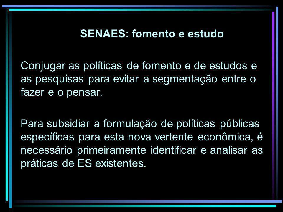 SENAES: fomento e estudo Conjugar as políticas de fomento e de estudos e as pesquisas para evitar a segmentação entre o fazer e o pensar. Para subsidi