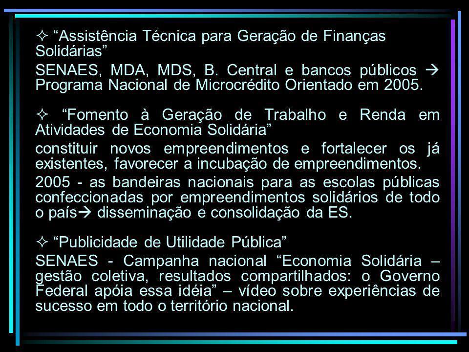 Assistência Técnica para Geração de Finanças Solidárias SENAES, MDA, MDS, B. Central e bancos públicos Programa Nacional de Microcrédito Orientado em
