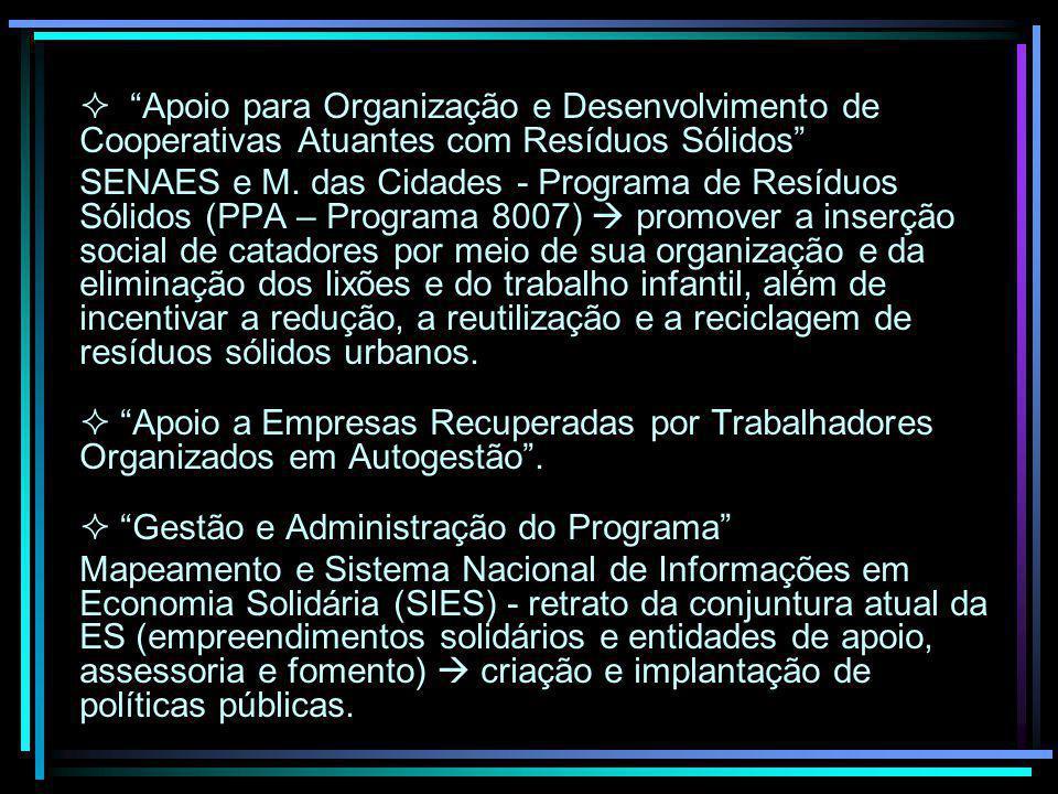 Apoio para Organização e Desenvolvimento de Cooperativas Atuantes com Resíduos Sólidos SENAES e M. das Cidades - Programa de Resíduos Sólidos (PPA – P